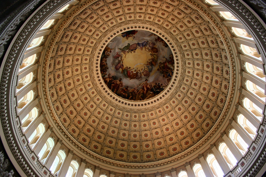 U.S. Capitol Dome Artwork - The painting at the top of the dome covers more than 4,000 square feet!