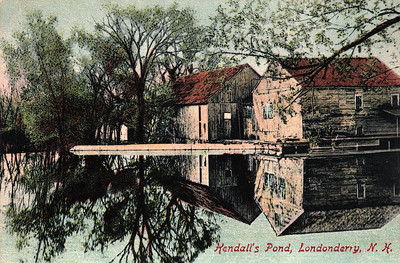 Kendall Mills This image is circa 1910. Located in South Londonderry, Kendall Pond was the site of a thriving mill business. In 1731, the rights were granted to Benjamin Wilson to build the mill. There was a large farm on the property, along with a barn across the road, and a separate building to store and age cider. In 1866, 700 barrels of cider were made at the mill. It has also been called Goss's, Moor's and Kendall's Mills. In the late 1800's and early 1900's, the pond furnished most of the ice in Londonderry for home iceboxes and milk coolers. In October of 1924, the mill buildings and barn burned down.