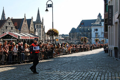 Image of the atmosphere before the start of the first historic parade in Ghent (Gent), Belgium. Some 100,000 - 125,000 (depending on the source) spectators attended the pageant during sunny weather.