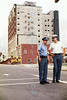 Hickory Police officers keep onlookers back from the pending implosion of Hotel Hickory, 1973.