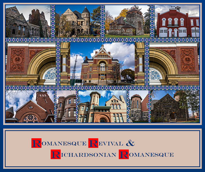 """Donna's Alphabet Challenge: R (November 10, 2013)<br /> Romanesque Revival and Richardsonian Romanesque are two related architectural styles.  They evolved and reached their peak popularity from the mid- through the late 19th century in America.  They reference elements of style found in Medieval churches in Europe in roughly the 10th and 11th centuries A.D. that were built in what is known as the Romanesque period in art and architecture.  Romanesque gave way to Gothic style in the 12th century.  Full versions of most of the shots are here: <a href=""""https://arctangent.smugmug.com/History/Historic-Styles-Architecture/RomanesqueRevivalArchitecture/"""">https://arctangent.smugmug.com/History/Historic-Styles-Architecture/RomanesqueRevivalArchitecture/</a><br /> <br /> DP314-2013  Posted November 10; created November 9 from pictures taken this past week.<br /> <br /> Eight different  buildings are represented in the montage (detailed below).  They include a range of sizes, and original purposes.  All but one are still in active use, but only three are still serving their original purpose.  You can read more about the features that characterize the two styles online.  Four members of this community (that I'm aware of) have, in the past, uploaded pictures of buildings in these styles, though they didn't always identify them as such.  (dakotacowboy, LGood, DreamCatcherPhotography, and brickroadstudio). <br /> <br /> Note added 2016:  Two of the above smuggers (DreamCatcherPhotography and brickroadstudio) have left smugmug since this montage was posted.  Perhaps if you search smugmug, or more generally, Google, for Texas county courthouses, you can find examples of some of the buildings those photographers had once featured on this site.<br /> <br /> Have some fun and research buildings in either of these styles in your locale and go see them in person.  FYI two of the most famous ones are 'The Castle' of the Smithsonian in D.C. and Trinity Church, Boston.<br /> <br /> The bui"""
