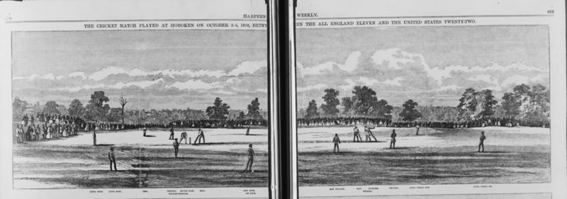 Paar's XI Playing in Hoboken 1859, Harpers Weekly, woodcut
