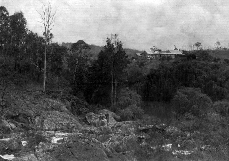 """Yabba Homestead"" <br /> <br /> Looking across Swansons Washpool, Yabba Creek, to Yabba Homestead, 1906."