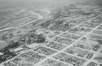 Aerial view of Mission Valley before development and University Heights/Normal Heights.  Courtesy of the Palestini Family.