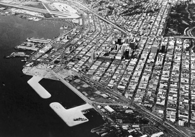 Aerial view of Downtown San Diego and Little Italy - Circa Mid-1970's  Courtesy of Civic San Diego.