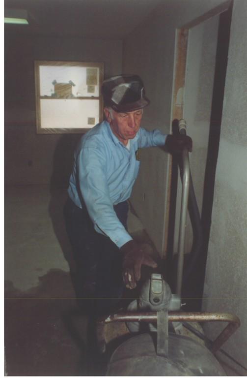 "During Men's Retreat, Carl Nussbaum and crew put the ""Nussbaum Flooring"" on in Woodlands."