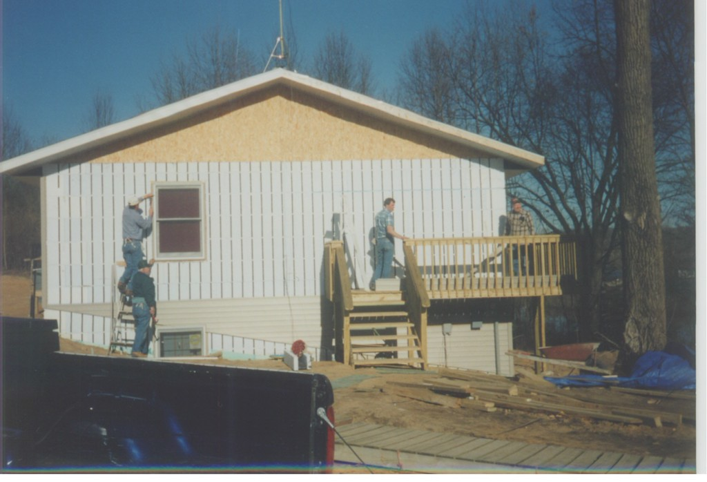 """Ken and a """"siding crew"""" worked on The Pines staff house."""