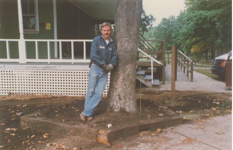 Buzz Randall, Lawton EMC, doing some landscaping work.