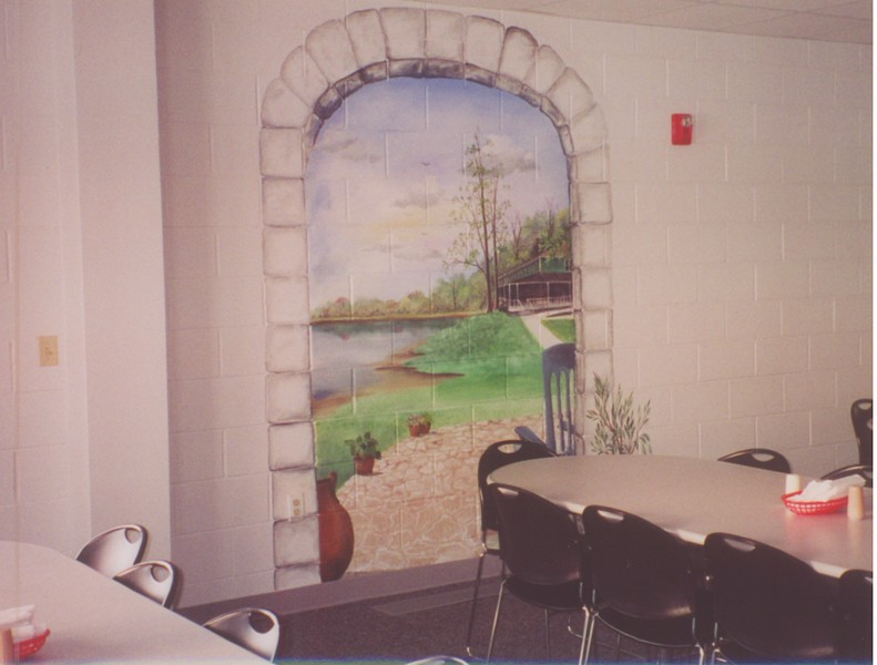 Pat Delagrange did all of the murals on the walls.