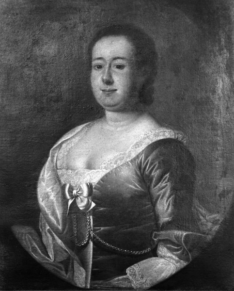 B/W photo of color portrait of Mrs. Brailsford, wife of Col. Brailsford, parents of William Brailsford of Hofwyl Plantation