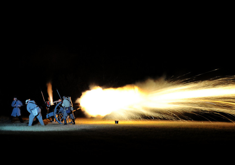 Hofwyl-Broadfield Christmas 12-05-09 - Night time Cannon Firing by Civil War Re-enactors