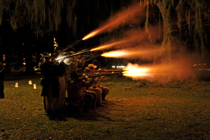 Hofwyl-Broadfield Christmas 12-05-09 - Night time musket firing by Civil War Re-enactors