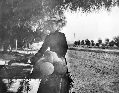 Woman Selling Pumpkins on Sunset