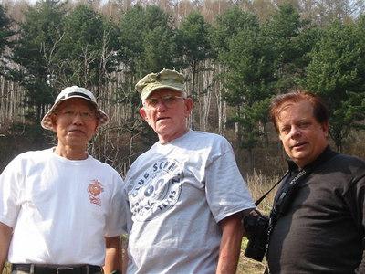 "(left to right) Y.O. ""Andy"" Ahn, Korea War Vet, ROK Marine Corps; Norman Callohan, USMC C-1-1, Tom Coyner, photogapher."