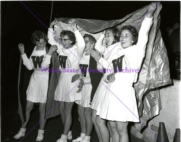 1959 Cheerleaders in the Rain