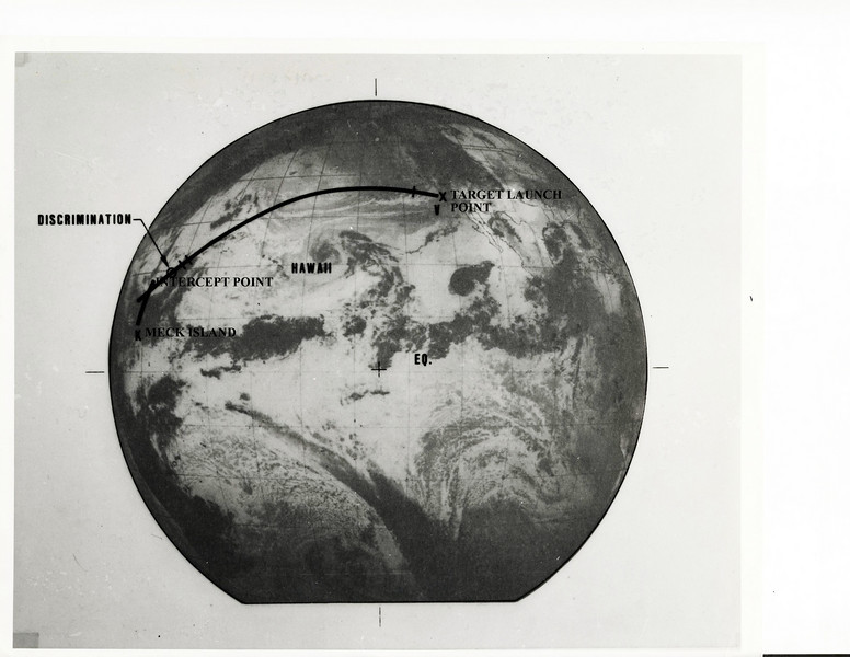A realistic target was obtained by firing a Minuteman missile from Vandenberg AFB in California into the Kwajalein Atoll, Marshall Islands (4,000 miles), which is the normal downrange impact point for Minuteman testing.<br /> As the Minutman warhead passed over Hawaii, radar data was telemetered to the HOE launch complex on Meck Island, and the launch time and general launch parameters were established.  The missile consisted of (another) Minuteman first and second stage, topped by the unique H&K upper stage, which made the intercept attempt.