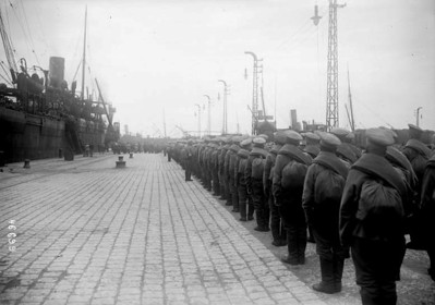 Russians line the pier ready to march.