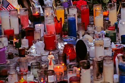 Memorial Candles left in memory of those who perished on 9/11 (35mm Ekachrome)