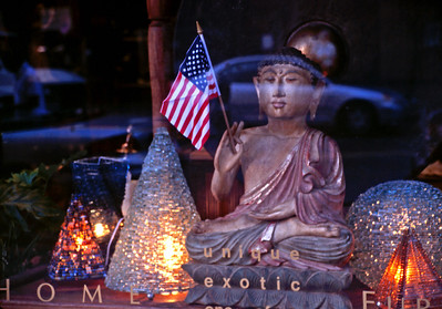 Patriotic Buddha in West Village (35 mm Ektachrome)