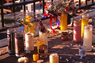 Candles left on Brooklyn Promenade in memory of People Lost in 9/11 Attack (35 mm Ektachrome)