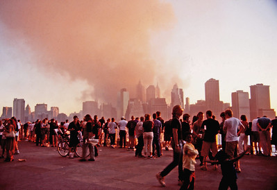 Smoke from World Trade Center on the Brooklyn Promenade (35 mm Ektachrome)