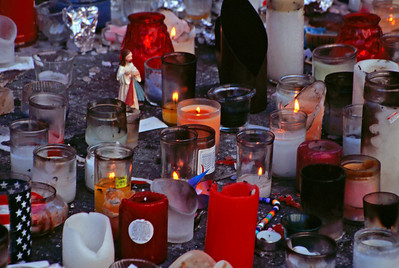 Memorial Candles Left for those that perished in 9/11 attacks (35mm Ektachrome)