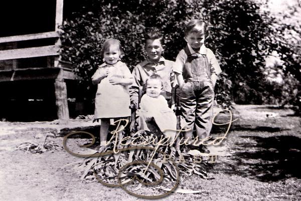 (L-R) Lorene, Aubrey Jr., baby Clyde and Ivan