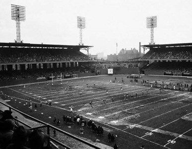 12 Nov 1946, Chicago, Illinois, USA --- Chicago, Ill.: Roy McKay, Green Bay Packers fullback, kicks off in the second half of the Green Bay Packers -Chicago Cardinals game at Chicago's Comiskey Park. The Packers won the game, 19-7. --- Image by © Bettmann/CORBIS
