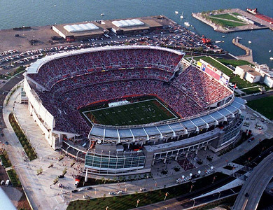 The new Cleveland Browns Stadium, seen in this aerial photo Saturday, Aug. 21, 1999, holds a crowd of 71,398 who attended the team's first exhibition game ,against the Minnesota Vikings. Cleveland fans had to wait 44 months for the return of the Browns to Cleveland. (AP Photo/The Morning Journal, Paul M. Walsh)