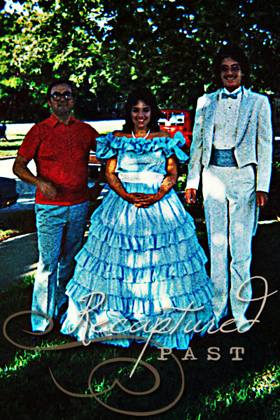 "(1986) ""This was my older sister's ""Gone with the Wind"" dress, lol.  She made me go to prom, saying I would regret forever if I didn't. This is a rare picture with my Dad."""