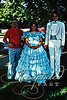 """(1986) """"This was my older sister's """"Gone with the Wind"""" dress, lol.  She made me go to prom, saying I would regret forever if I didn't. This is a rare picture with my Dad."""""""