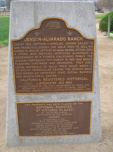 Plaque: Jensen-Alvarado Ranch, Rubidoux.  CHRL No. 943. 8 Feb 2007