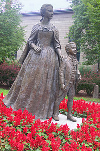 Statues of Abigail Adams and young John Quincy Adams (1767 - 1848) near the Visitors Center.