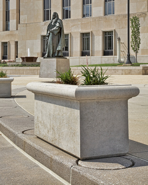 Sir William Blackstone in front of U.S. Court House