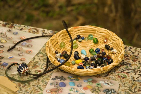 9/2010:  Working with beads at Koh-Koh-Mah historical re-enactment, Howard Co., IN