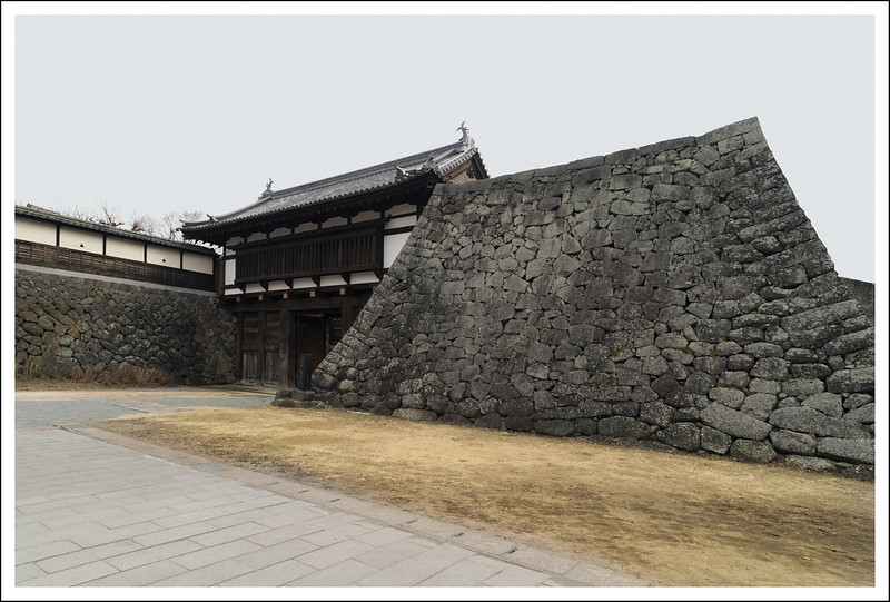 The outer gate and remaining fortress wall.  Originally there were other buildings behind this wall.
