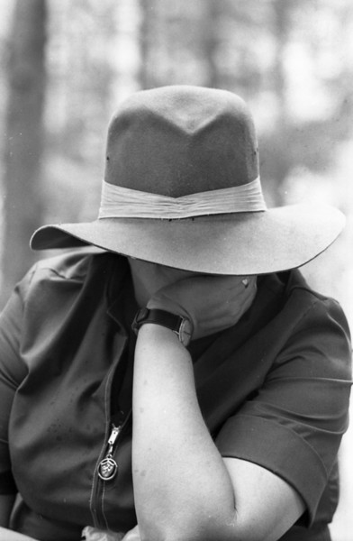 Mom modelling my new hat.