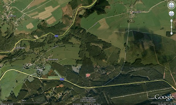 At approximately 16:15 on 18 December, as Peiper's lead tank turned right onto N66 in the direction of the Neufmoulin Bridge, the jeep carrying Captain A.P. Lundberg Motor Officer of the llUth Engineer Group and his driver ran smack into it. One American died instantly while the Germans shot the other at the roadside. <br /> Collision occured where the road from Froidville joins N66 today.