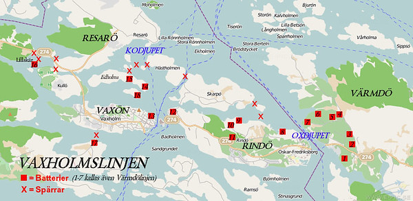 The line was built 1899-1903. Battery 17-18 was closed as early as 1903. In this map the main defence points are marked. Image from Wikipedia created by Holger.Ellgaard<br /> redigera<br /> Ta bort bildtext