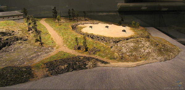 Model of the 12:th battery. It was armed with four 15 cm guns m/1898 in armoured towers. The form for this fort became the prototype for the other forts on Värmdö. (3:rd and 5:th battery)