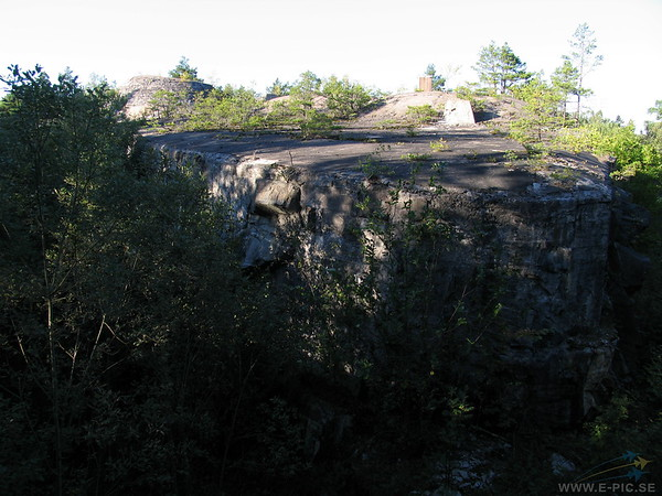 View of the 3:rd battery keep across the dry moat. The triangular shape of the keep can bee seen as another moat continues on the right.