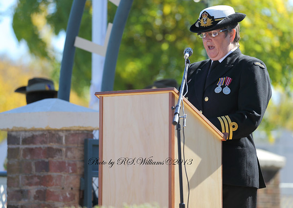 Prayers being read by Commander Barnes on Anzac Day 2013.