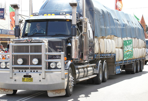 Another of Boorowa's valuable farm products, a semi-trailer load of Australia's Premium wool takes part in the Woolfest Street Parade before making its way to auction in Sydney.