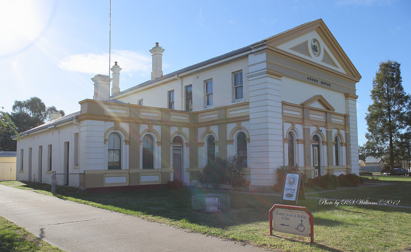 Boorowa Courthouse in late afternoon sunlight.