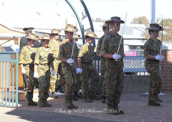 The catafalque party enters the inner sanctum of the Memorial, Anzac Day 2013.