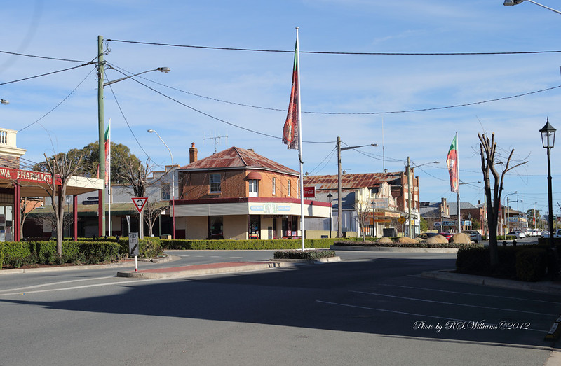 Boorowa's neatly manicured main street.