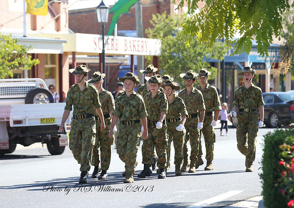 The platoon of Australian Army Cadets who will form the catafalque party are marched to the stating position for the parade.
