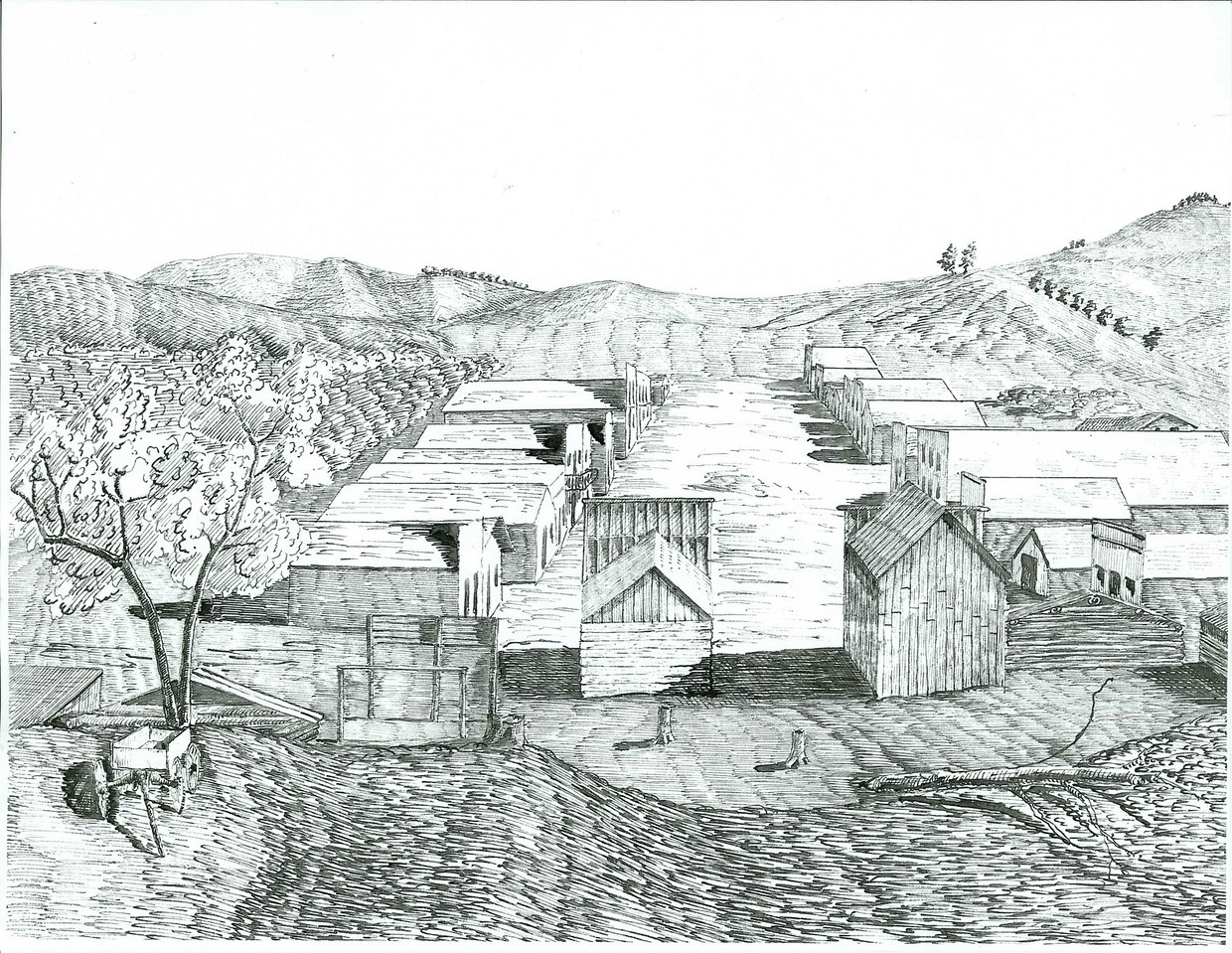 This undated sketch of Crook City in Dakota Territory is courtesy of the Adams Museum in Deadwood, South Dakota.