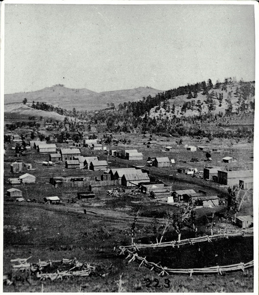 An early photograph of Crook City - Dakota Territory.  This photo is credited to Frank J. Haynes.<br /> <br /> A photographer for many of the historic images of Crook City, Haynes worked in the northern Black Hills area in the 1877-78 time frame. He went on to be the official photographer of Yellowstone National Park.
