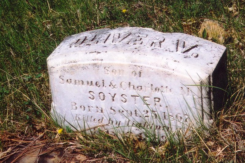 "A marker for Oliver W. Soyster, son of Samuel & Charlotte Soyster, notes that young Soyster -- born September 25, 1867 -- was killed by lightning.  Thanks to Jim and Verla Weaver for these cemetery photos.    Return to the <a href=""http://lawrencecountyhistory.blogspot.com/2009/10/about-crook-city.html""> Crook City</a> story.  Return to <a href=""http://lawrencecountyhistory.blogspot.com/""> <i>Historical Marker</a>."